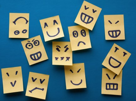 Smilies stickers on blue background
